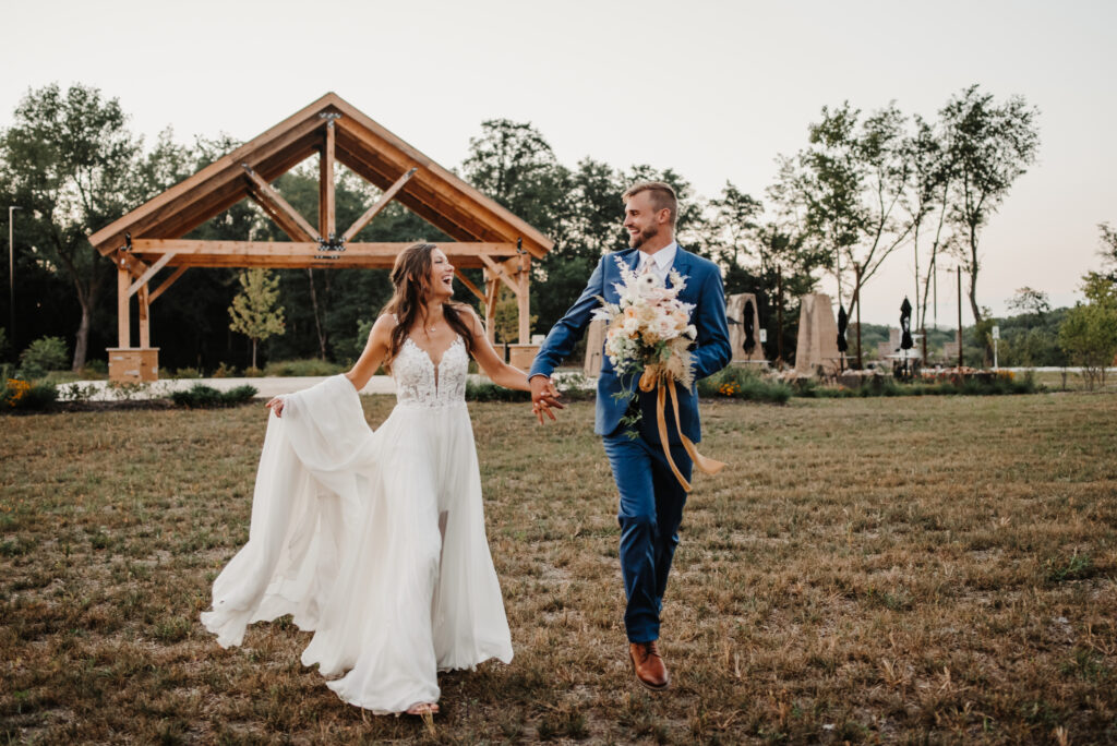 luxury campground wedding at Camp Aramoni | Bride and Groom after outdoor ceremony